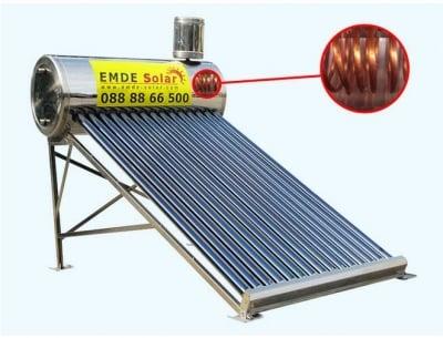 Слънчев вакуумен колектор EMDE-solar MDSC470-58/1800-20-20 -200L.-термосифонен,неръждаем с медна серпентина